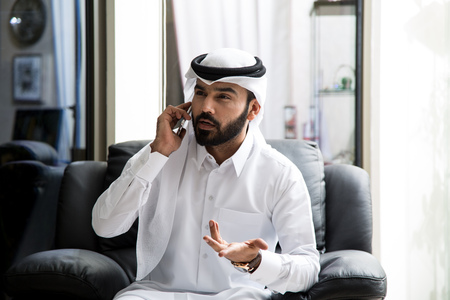 Arab Man Calling The Customerservice ( tollfree Customer Service )