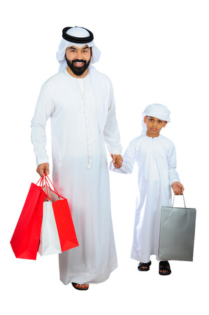 Arab Father And Son Happy After Shopping