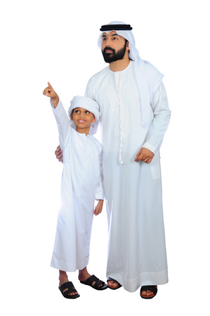 Arab Father And Son Going For Shopping