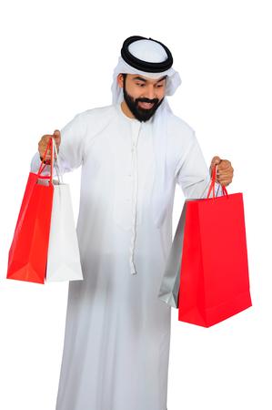 Happy Arab Man ( Shopping ) Stock Photo