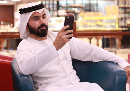 Arab Man Using Mobile - Technology SmartPhone
