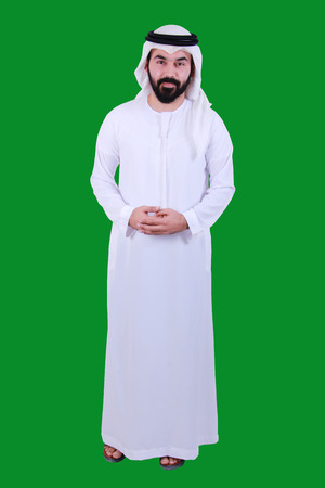 Portrait Of A Young Arab Man Wearing UAE Traditional Dress With A Welcome Smile ( emirati Kandora UAE
