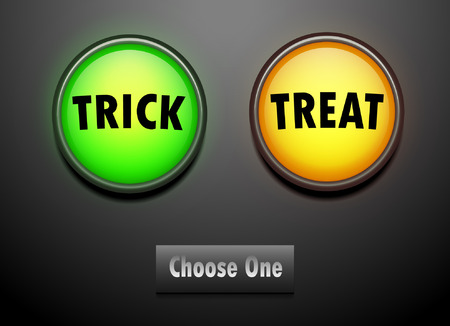 led: LED push button for choose trick or treat. Illustration