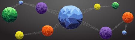 Netzwerk-Atom Low-Poly-Stil blau, orange, gelb, grün, lila.