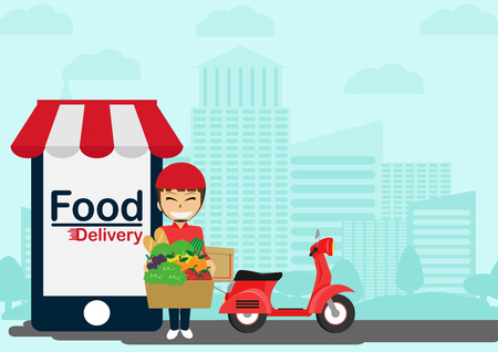 fresh food: Online food delivery shop design from smartphone with urban landscape background.Straight from the source Illustration