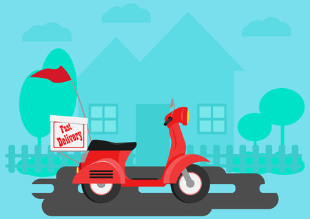 Fast Delivery motocycle with blue home background. Illustration
