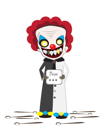 villain: Clown cartoon vector for halloween party and illustrated News.