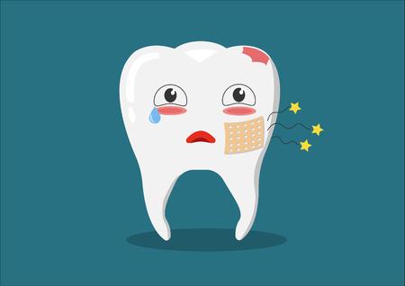 ベクトル漫画の病気歯。崩壊し、歯を破壊します。かわいい歯が泣いています。