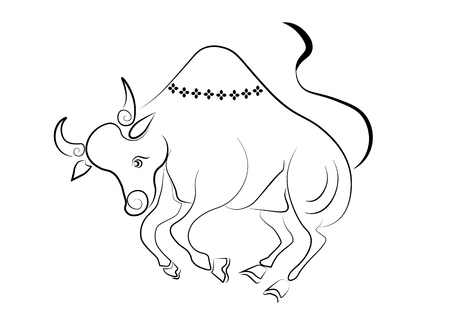 The painting cow one of the 12 zodiac based on the belief of the people of Asia. This is the year that represents destiny and lifestyle. Illustration