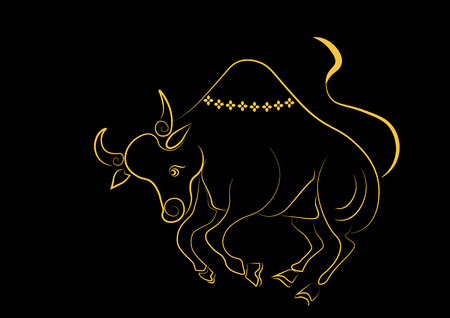 dogma: The painting cow one of the 12 zodiac based on the belief of the people of Asia. This is the year that represents destiny and lifestyle. Illustration