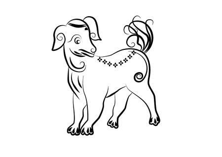 year of the dog: The painting dog one of the 12 zodiac based on the belief of the people of Asia. This is the year that represents destiny and lifestyle.