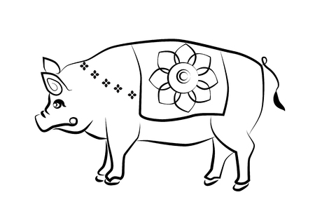 rite: The painting pig one of the 12 zodiac based on the belief of the people of Asia. This is the year that represents destiny and lifestyle.