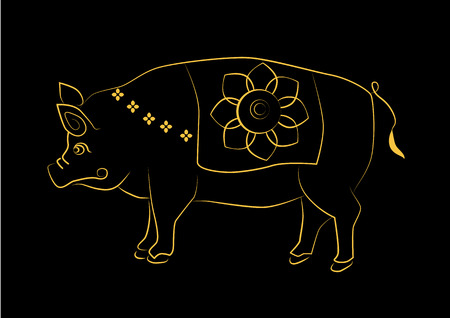 an amulet: The painting pig one of the 12 zodiac based on the belief of the people of Asia. This is the year that represents destiny and lifestyle.