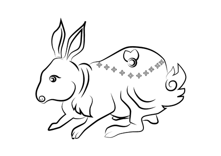 rite: The painting rabbit one of the 12 zodiac based on the belief of the people of Asia. This is the year that represents destiny and lifestyle.