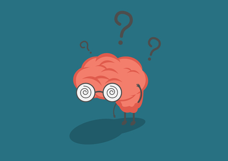 parietal: vector cartoon brain in fell confused.Can represent a significant business developments, such as thinking, learning, practice. Illustration