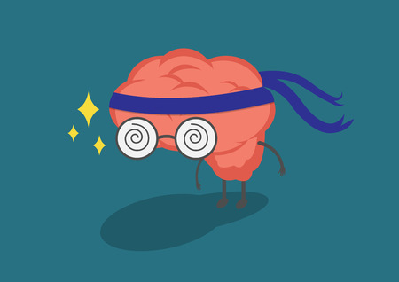 attainment: Brain cloth headband represents the efforts of research and development.Vector and illustration cute brain cartoon. Illustration