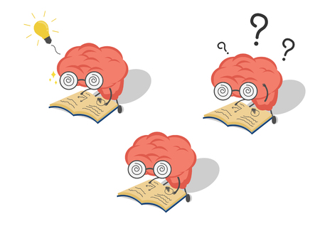 Vector cartoon set brain with book in fell confused,get idea.Can represent a significant business developments, such as thinking, learning, practice.