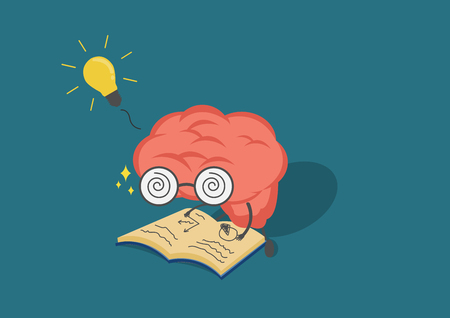 vector cartoon brain read book.Can represent a significant business developments, such as thinking, learning, practice,patience.