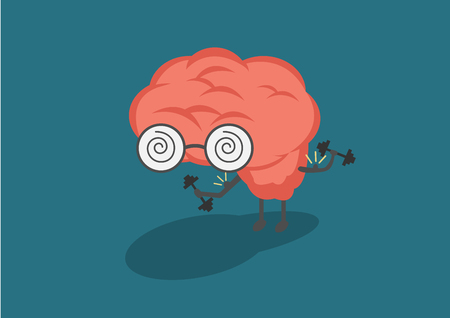 Vector illustration of pastel color smile pink brain with glasses lifts with dumbbells on blue background. Fitness cartoon brain concept. Thin line art flat design of brain for sport Illustration