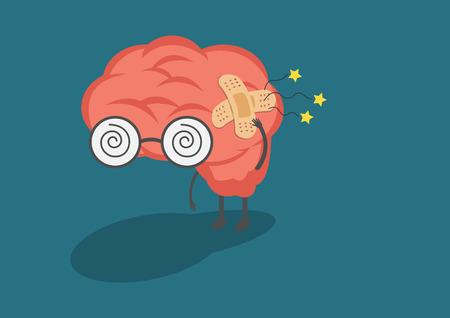 vector cartoon menselijke hersenen ache.Used voor werkzaamheden met betrekking tot het tweede en het zenuwstelsel of hoofdpijn symptoom.