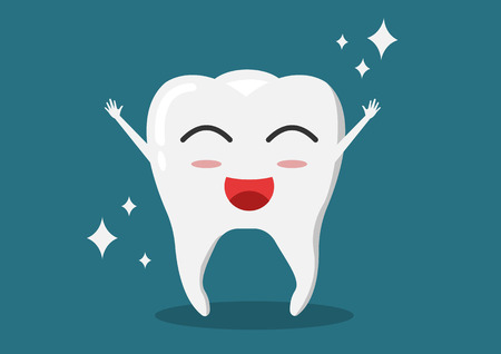Healthy tooth icon. Oral dental hygiene. Children teeth care. Shining effect stars with background. Flat design. Vector illustration Illustration