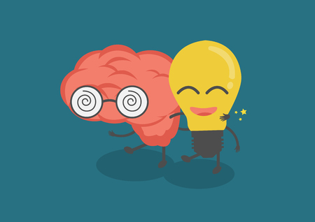 vector cartoon cute brain and lightbulb are friends. Them walk together meaning knowledge and creative idea or IQ and EQ. can develop organization. Illustration
