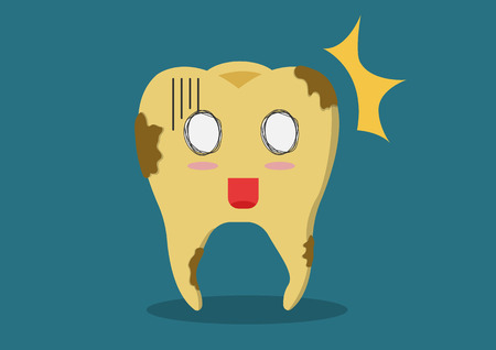 Cartoon vector yellowing or discolouration of teeth . It would like a clean and polish. Illustration