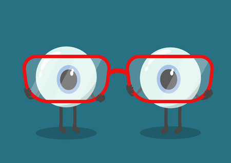 optician: vector cute cartoon eyes hold eyeglasses. Are you short or long sighted ?