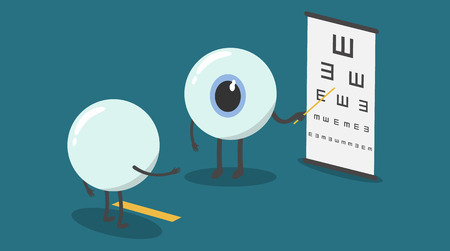 optician: vector cartoon eyes test eyesight.Could you read out the letters on the chart, starting at the top Illustration
