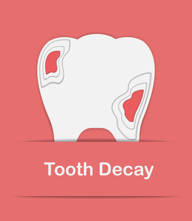 decay: Vector tooth decay paper craft design with pink backgroun.Look like teeth with gums.modern trend illustration.