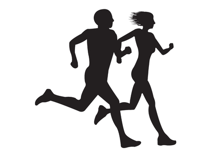 Young couple man and woman run together isolate on white background. Silhouette.can adjust distance between man and woman.