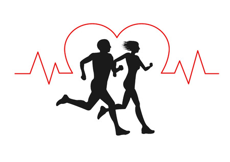 Young couple man and woman run together with heartbeat pulse. Silhouette.can adjust distance between man and woman.