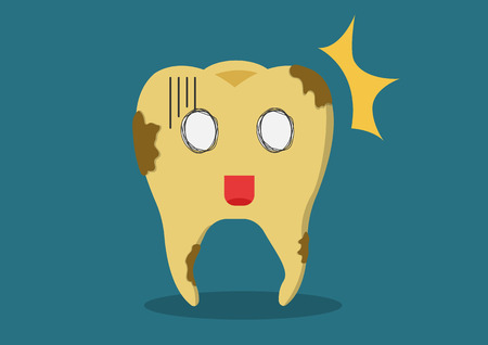 dental calculus: Cartoon vector yellowing or discolouration of teeth . It would like a clean and polish. Illustration