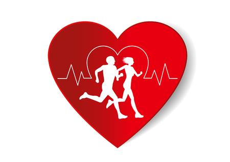 Gesundes Herz Vektor Papier Schnitt Stil mit laufenden Mann und Frau.Pulse Herzfrequenz bedeutet Joggen ist gut für das Herz