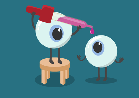 vector cartoon human eyes drop medicament.Used to describe the eye clinic or illnesses related to the eye and ideal for training materials, catalogs and institutional.