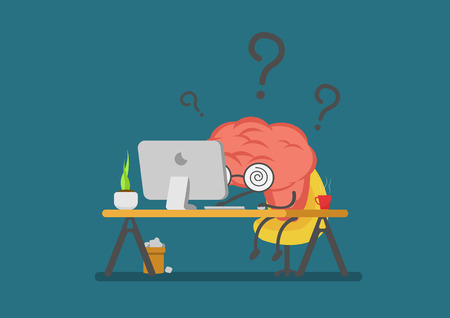 vector cartoon brain working and .Can represent a significant work feeling