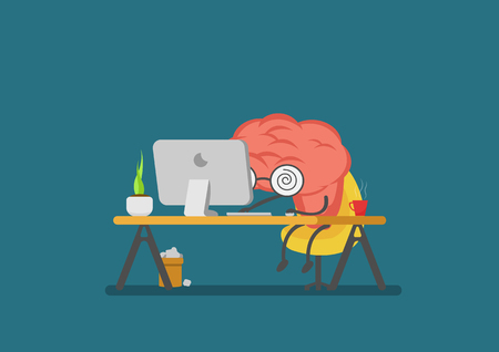 inovation: vector cartoon brain reading computer.Can represent a significant business developments, such as thinking, learning, e-learning