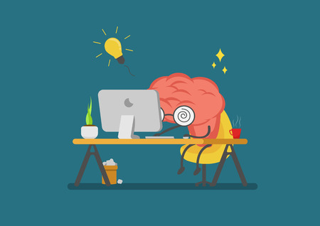 vector cartoon brain working and getting idea.Can represent a significant business developments, such as creative and devoloping
