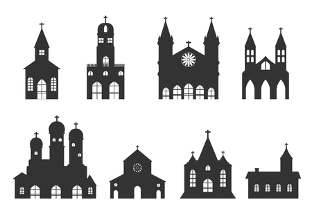 doctrine: church building icon.set vector of christian religion church silhouette sign and symbol. Illustration