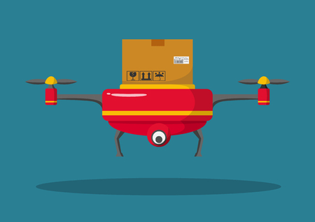 Remote air drone with a box flying front view.Modern delivery of the package by flying drone. Flat illustration of the express package delivery. Ilustrace