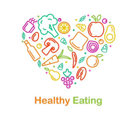 Food icon in trendy linear style is arraged in heart for healthy food and organic food