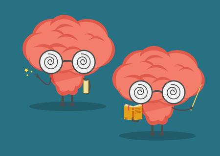 Cartoon set brain hold a book and brain read book for teach. Illustration