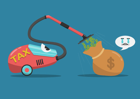 Vector flat cartoon vacuum cleaner sucking money out of the bag.It is represented by the tax payer. Illustration