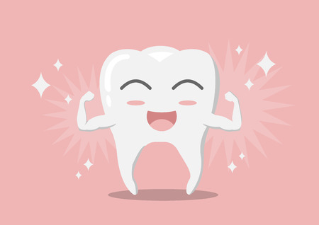 Cartoon whitening tooth muscle strain for show solidity tooth with shining effect and the happy face.