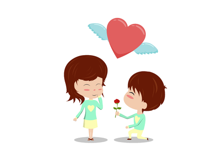 affection: Cartoon love couple man kneel and give rose to woman with heart fly isolate on white background. Illustration