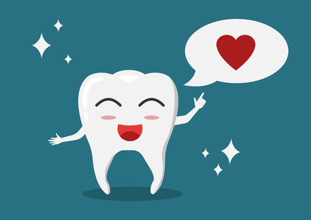 Vector cartoon white tooth with shiny effect gesturing invitation for dental health care.Can change heart in speech balloon to text or other icon.