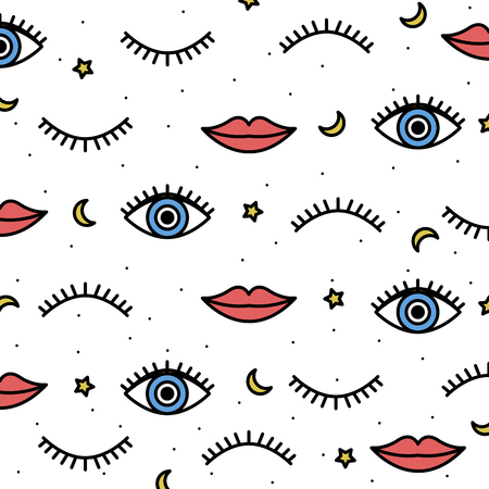 Seamless pattern in the style of psychedelic eyes with his lips. Pattern for fashion with eyes. The template for the cover fabric, books. Modern design for the fabric.