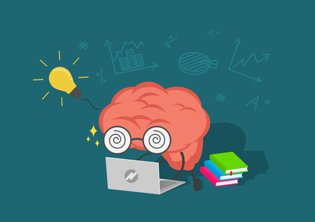 Cartoon pink brain is learning knowledge from white laptop with yellow light bulb, Online study and training concept.