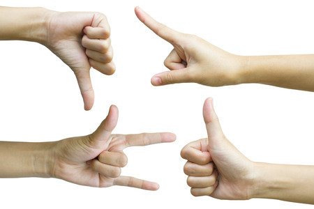 Set of hand sign include thumb up thumb down fingerpoint and love sign isolated on whit backgorund.