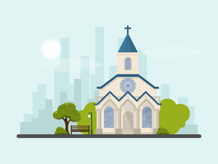 Vector flat comtemporary church and park with city scape and sky background, suburb church concept.